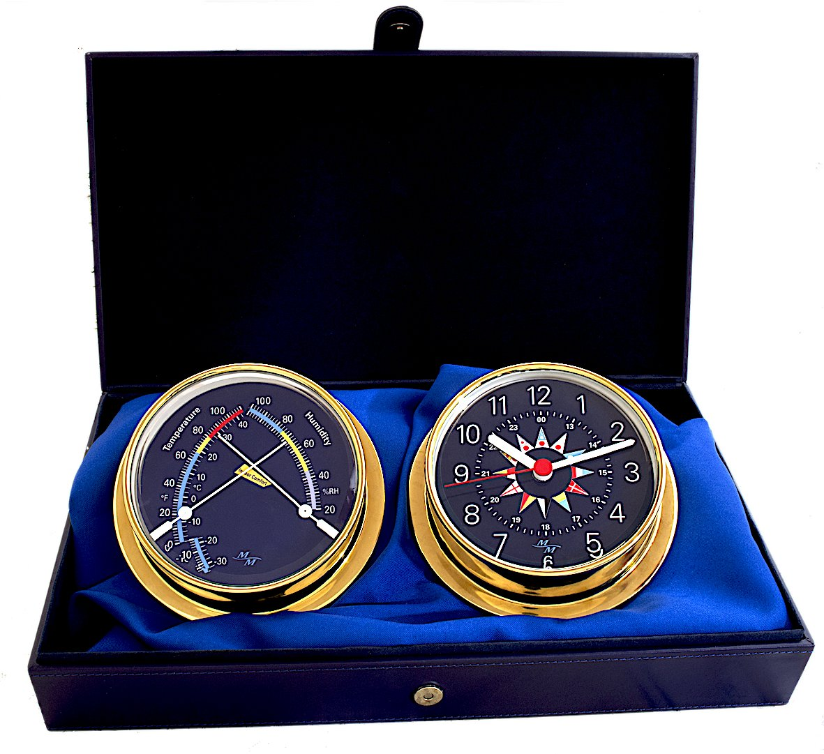 """Master-Mariner Blue Mariner Collection, Nautical Cabin Gift Set, 5.75"""" Diameter Clock and Comfort Meter Instruments, Gold Finish, Blue Signal Flag dial"""