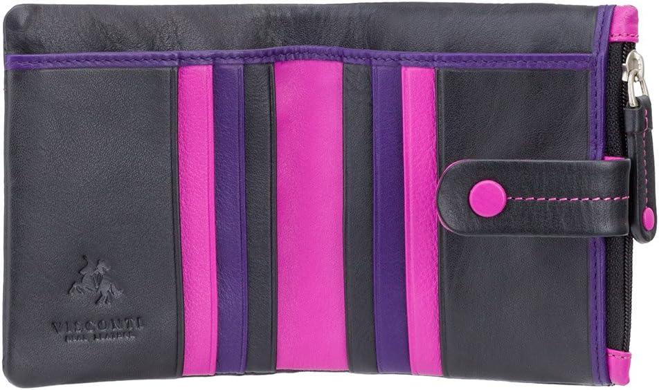 Visconti portafoglio di pelle da donna a piegatura doppiaMimi multicolore nero : black multi M77