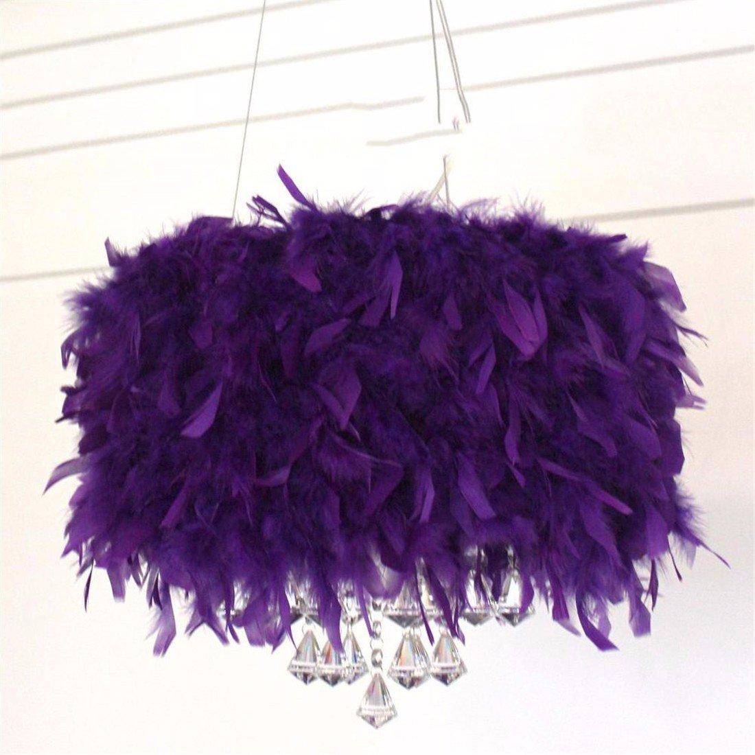 LAONA Creative crystal lamp, LED living room, study room, bedroom, simple modern European romantic feather pendant lamp,35CM-purple