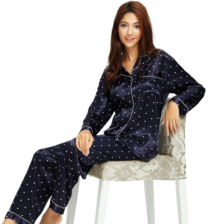 1df82193 Womens Silk Satin Pajamas Set Sleepwear Loungewear XS~3XL Plus at Amazon  Women's Clothing store: