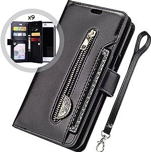 iPhone 8 Plus Case Wallet,Auker Trifold 9 Card Holder Flip Flop Sleek Faux Leather Folio Book Design Fold Stand Zipper Wallet Clutch Case with Strap&Money Pocket for Women/Men iPhone 7 Plus Black