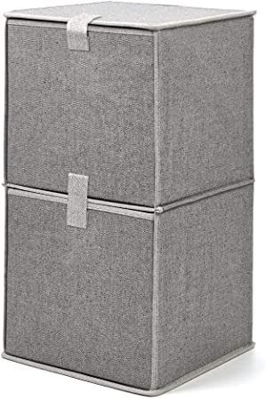 EZOWare Caja de Almacenaje de Tela con 2 niveles, Estante, Estantería, Organizador de Armario: Amazon.es: Hogar