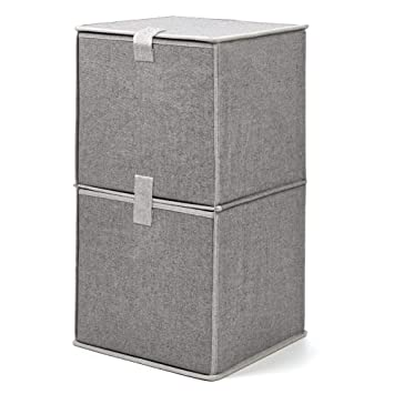 EZOWare Caja de Almacenaje de Tela con 2 Niveles, Estante, Estantería,Organizador de Armario: Amazon.es: Hogar