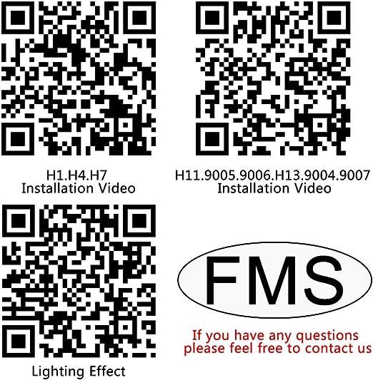 FMS 2 * H13 9008 LED Faro Bombillas LED Coche Kit, Moto Alquiler de Luces del 6000K Korean Seoul LED Chips IP67 40W 4800LM luz Bombilla Blanca (H13/9008): Amazon.es: Coche y moto