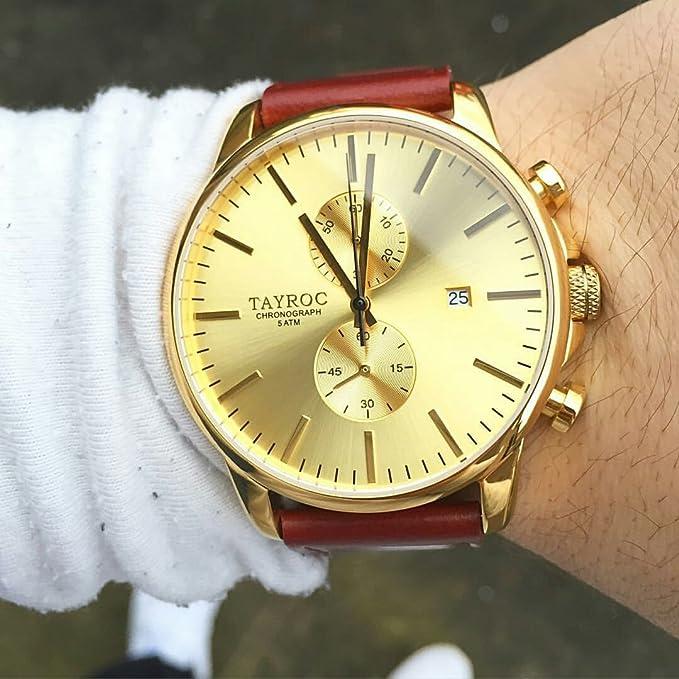 Reloj hombre RELOJ tayroc Iconic Oro Classic cronógrafo acero inoxidable cuarzo banda de cuero reloj de pulsera txm096: Amazon.es: Relojes