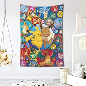 MOSIDECOR Po-Ke-m-o-n Ee-VEe Anime Tapestry Wall Hanging Banner Home Decor Tapestries Wall Art for Living Room Bedroom for Birthday Gifts 60