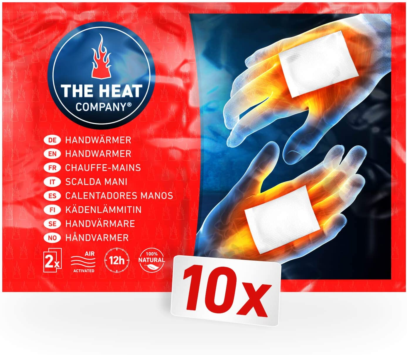 Packet of disposable hand warmers.