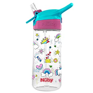 Nuby Push Button Flip-it Soft Spout Tritan Water Bottle, Unicorns, 18 Oz