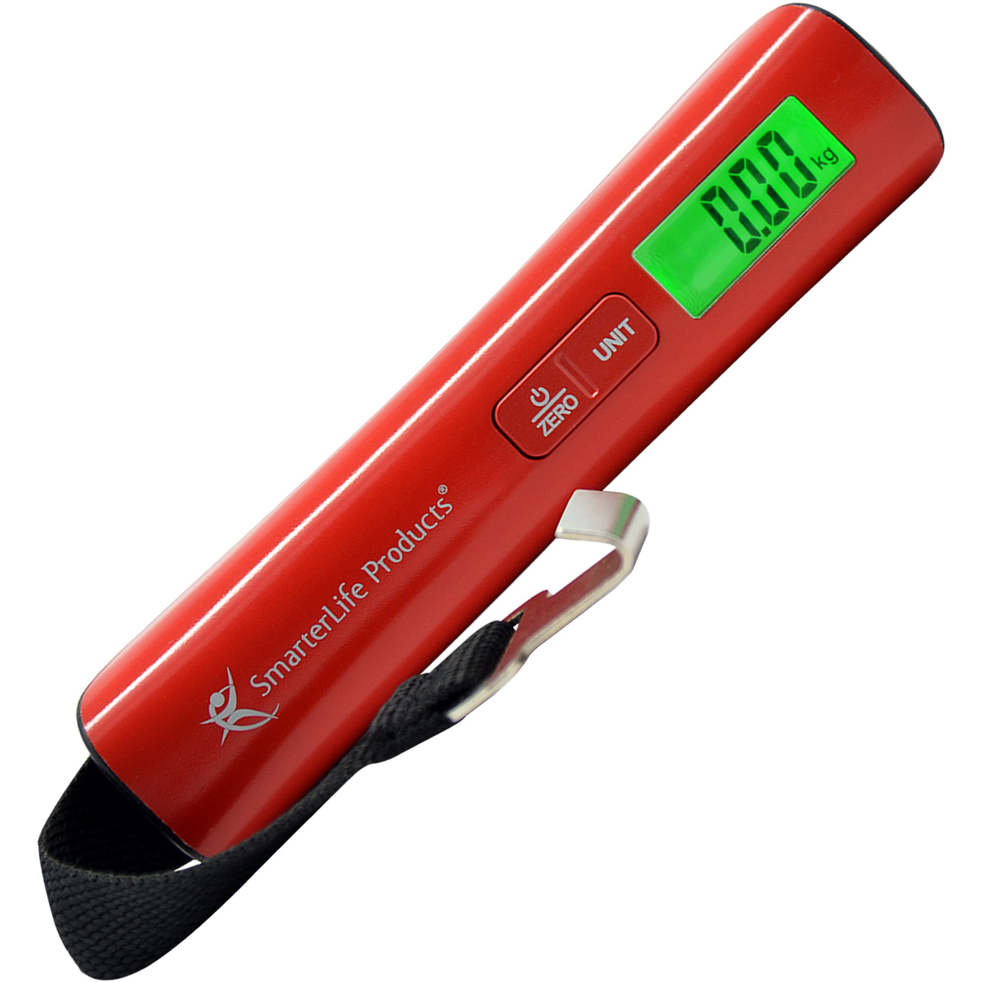 SmarterLife Products Digital Luggage Scale for Weighing Checked Baggage for Air Travel, Large LED Display, Sunset Red