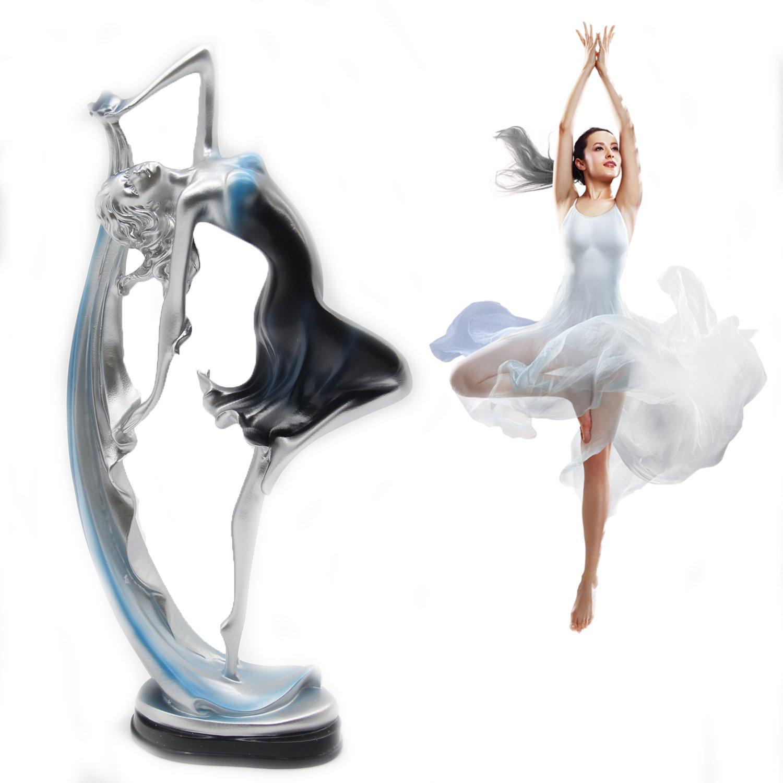 H&W Graceful Dance Movements, Beautiful Dancer Statue, Blue & Silver, Best Gift For Girl, Home Decoration, Desk Ornament(HH8-D1)