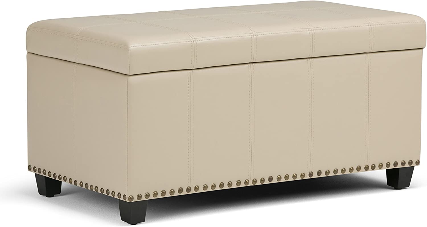 Simpli Home AXCOT-257-CR Amelia 34 inch Wide TraditionalStorage Ottoman in Satin Cream Faux Leather