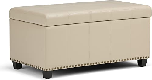SIMPLIHOME Amelia 34 inch Wide Rectangle Lift Top Storage Ottoman Bench