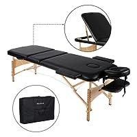 MaxKare Lit de Massage Table Pliante en Bois, 3 Zones Pliables et Hauteur Réglable, Lit Professionnel d'esthetique pour Les Salons Bien-être/A Domicile + Sac de Transport