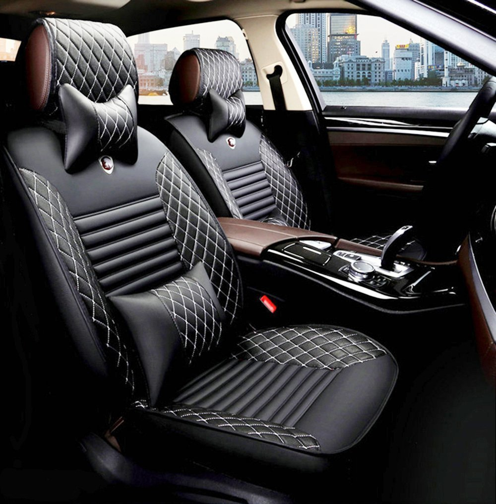 WillMaxMat Universal Fit Car Seat Cover Front&Rear Seat Cushions for Lexus NX200 200T 300 300H - Black w/White Stitching