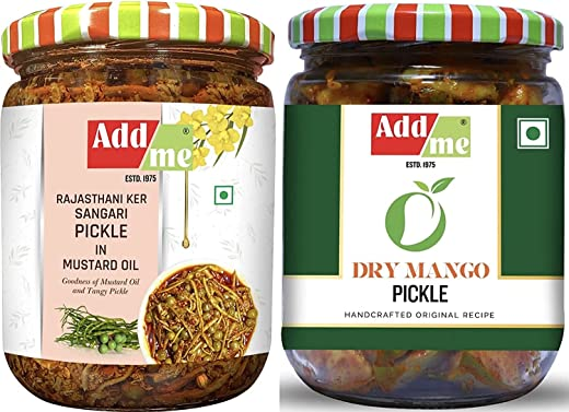 Add me Ker Sangri Pickle, Dry Mango Pickle, sukha aam ka achar, 500G Each. Rajasthani Pickles achaar Glass Pack
