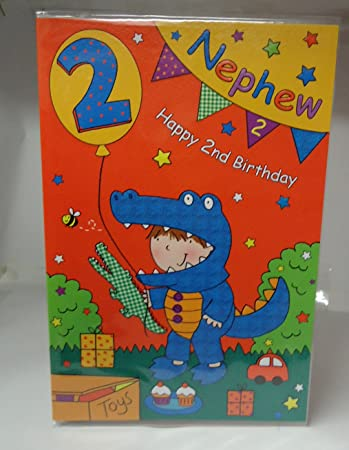 Nephew 2nd 2 Today Happy Birthday Card With A Lovely Verse Amazon