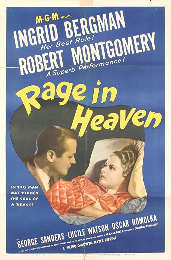 """Amazon.com: Rage in Heaven 40.75"""" x 27"""" Poster 1941 Vintage Blue: Posters &  Prints"""