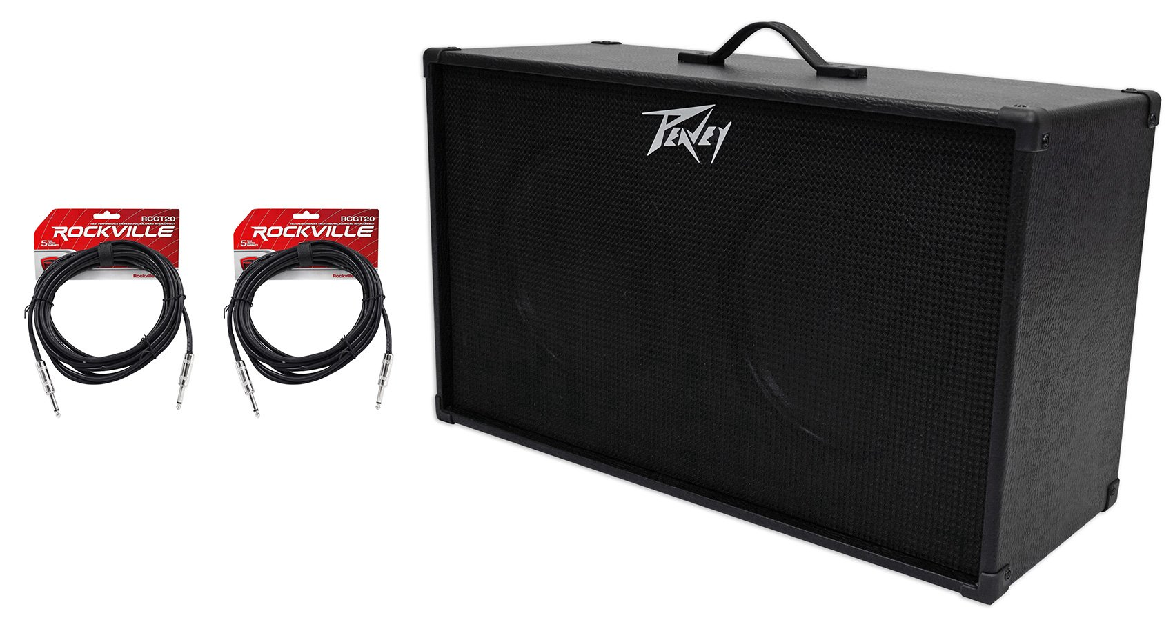 PEAVEY 212 2x12'' Speakers Guitar Amplifier Amp Extension Cabinet+2 Guitar Cables by Peavey