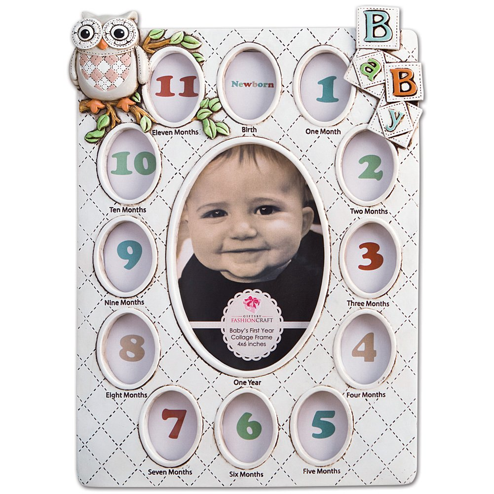 Baby's First Year Collage Picture Frame Holds 13 Photos From Birth - Age 1 Fashioncraft