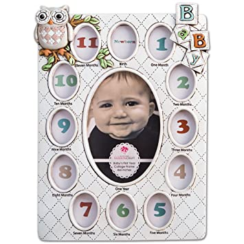 Amazon.com : Baby's First Year Collage Picture Frame Holds 13 ...