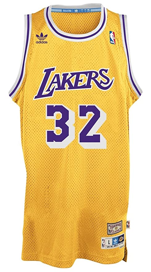 Adidas Magic Johnson Los Angeles Lakers NBA Throw Back Swingman Jersey Camiseta – Gold, Amarillo