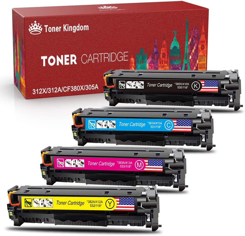 Toner Kingdom Remanufactured Toner Cartridge Replacement for HP 312A 312X 305A 305X for HP Color Laserjet Pro MFP M476dw M476dn M476nw M451dn M451nw M451dw M475dw M475dn MF8580CDW Printer (4 Pack)