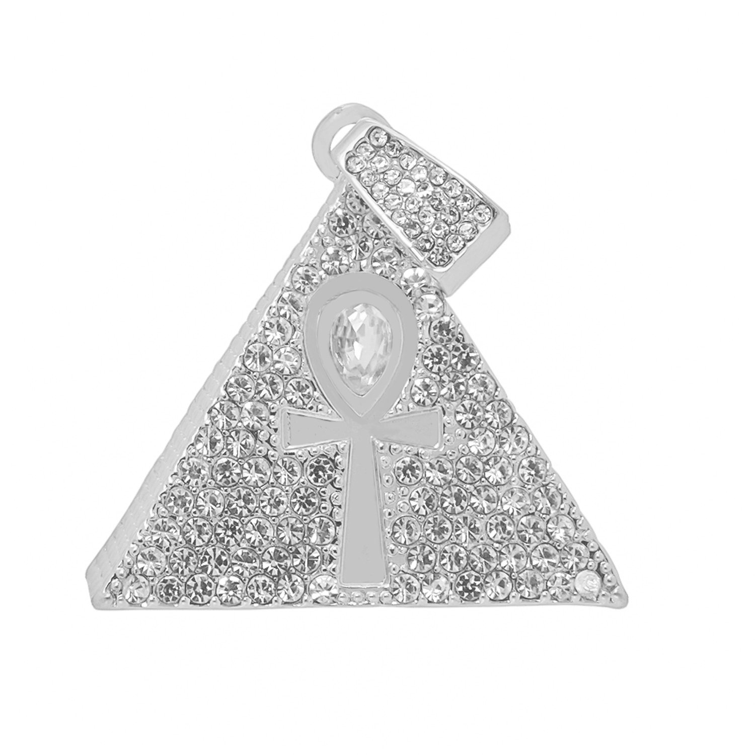 Silver-Tone Iced Out Hip Hop Bling Pyramid and Ankh Cross Pendant with Princess Cut Cubic Zirconia 24 Tennis Chain and 24 Rope Chain