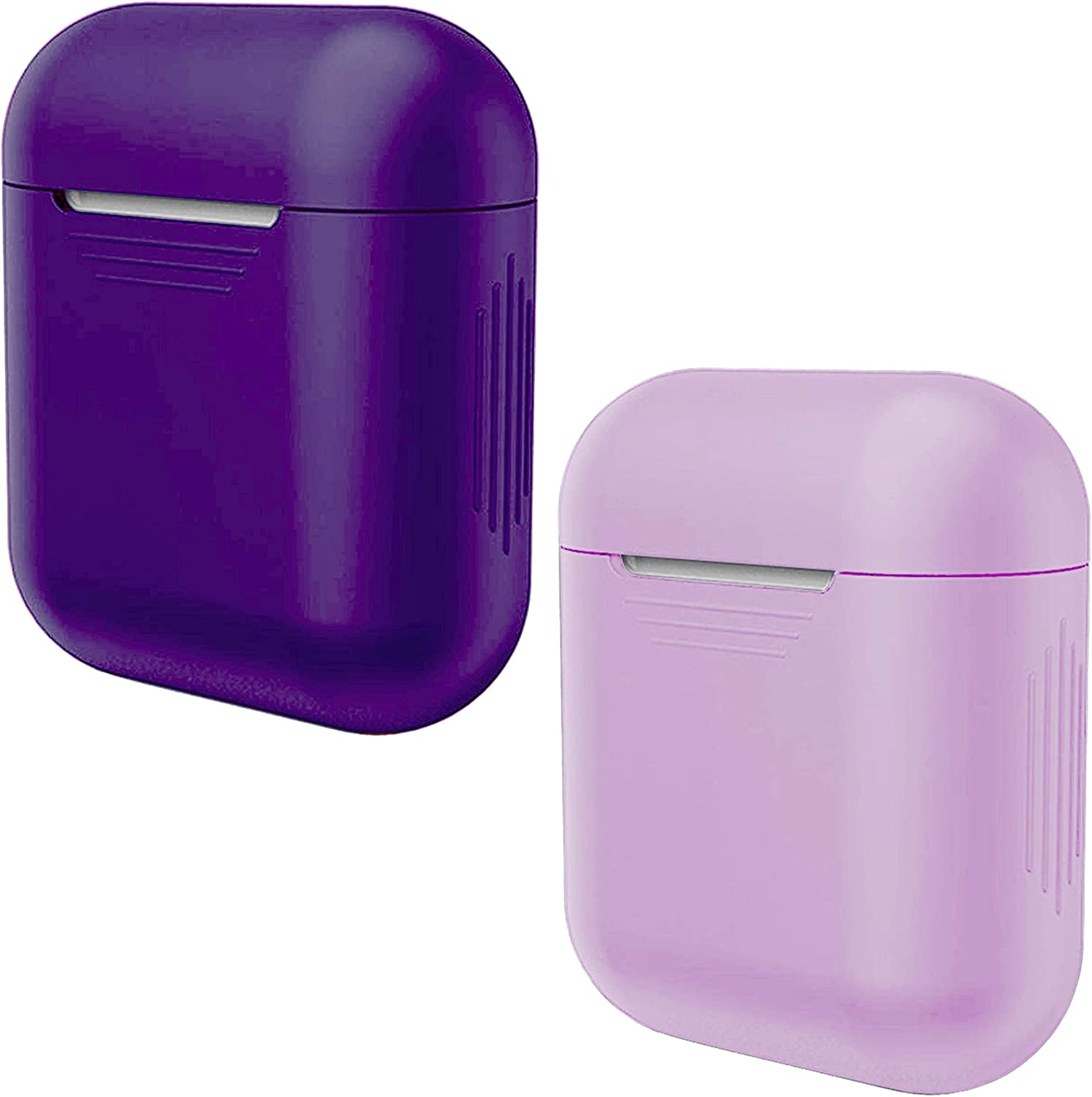 APSKINS Protective Silicone Case Cover 2 Pack – Compatible with Apple AirPods - Add Style and Protect Your Earphones (Purple and Lilac)