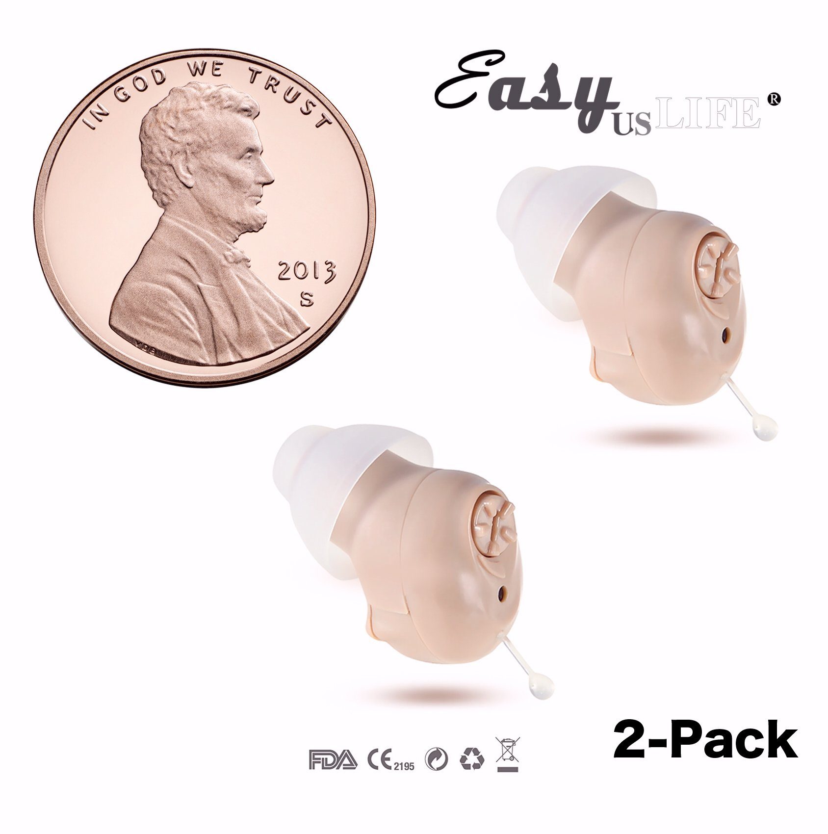 Super Mini,Beige Color,in-The-Canal (ITC),2-Pack New Digital Hearing Amplifier, Clearly Technology, Interchangeable, Suitable for Men and Women, Trademark: Easyuslife