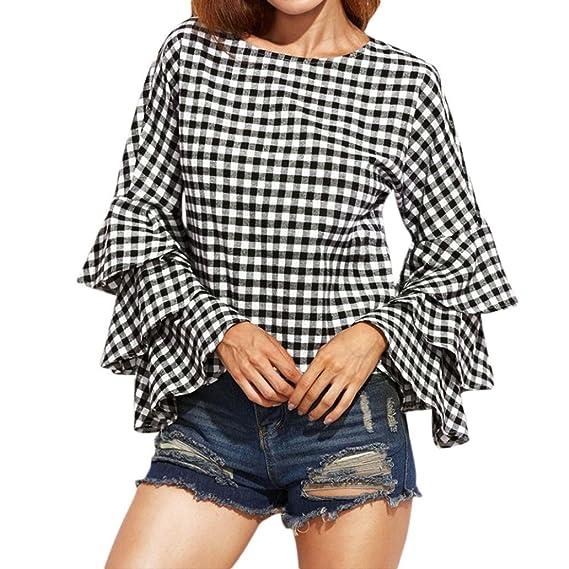 QinMM Mujer Camiseta Mangas Largas de campana Camisa a cuadros Blusa Tops Elegante Noche Casual Oficina