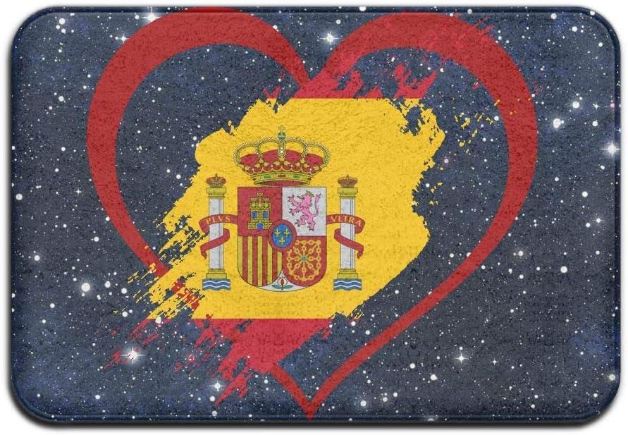 yting Alfombra Antideslizante Alfombrilla para el Piso con Bandera de España Patrón en Forma de corazón para Patio o Entrada, 40x60 cm: Amazon.es: Hogar