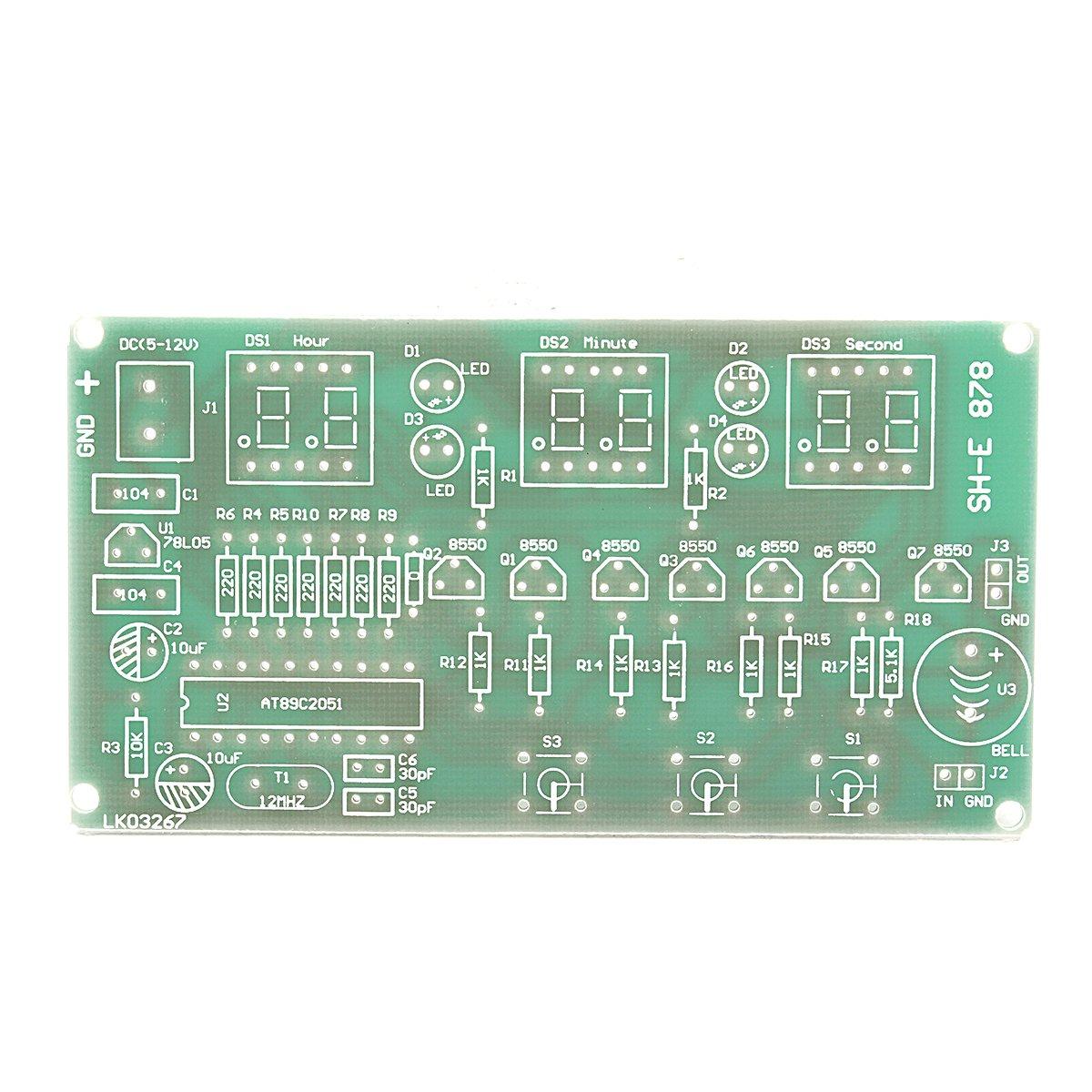 Ils - 5V-12V AT89C2051 Multifunció Six Digital LED DIY Electronic Reloj Kit: Amazon.es: Electrónica