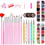 Xinfenglai A 10-piece Set of Nail Art DIY Tools, with Colored Drawing Pens and Point Drill Pens, Rhinestones, Decorations, Go