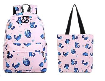 Tela Impermeable Mujeres Mochila Lindo Gato Animal Patrón Impresión Niñas Universidad Mochila de Gran Capacidad Pink set 15 Inches: Amazon.es: Equipaje