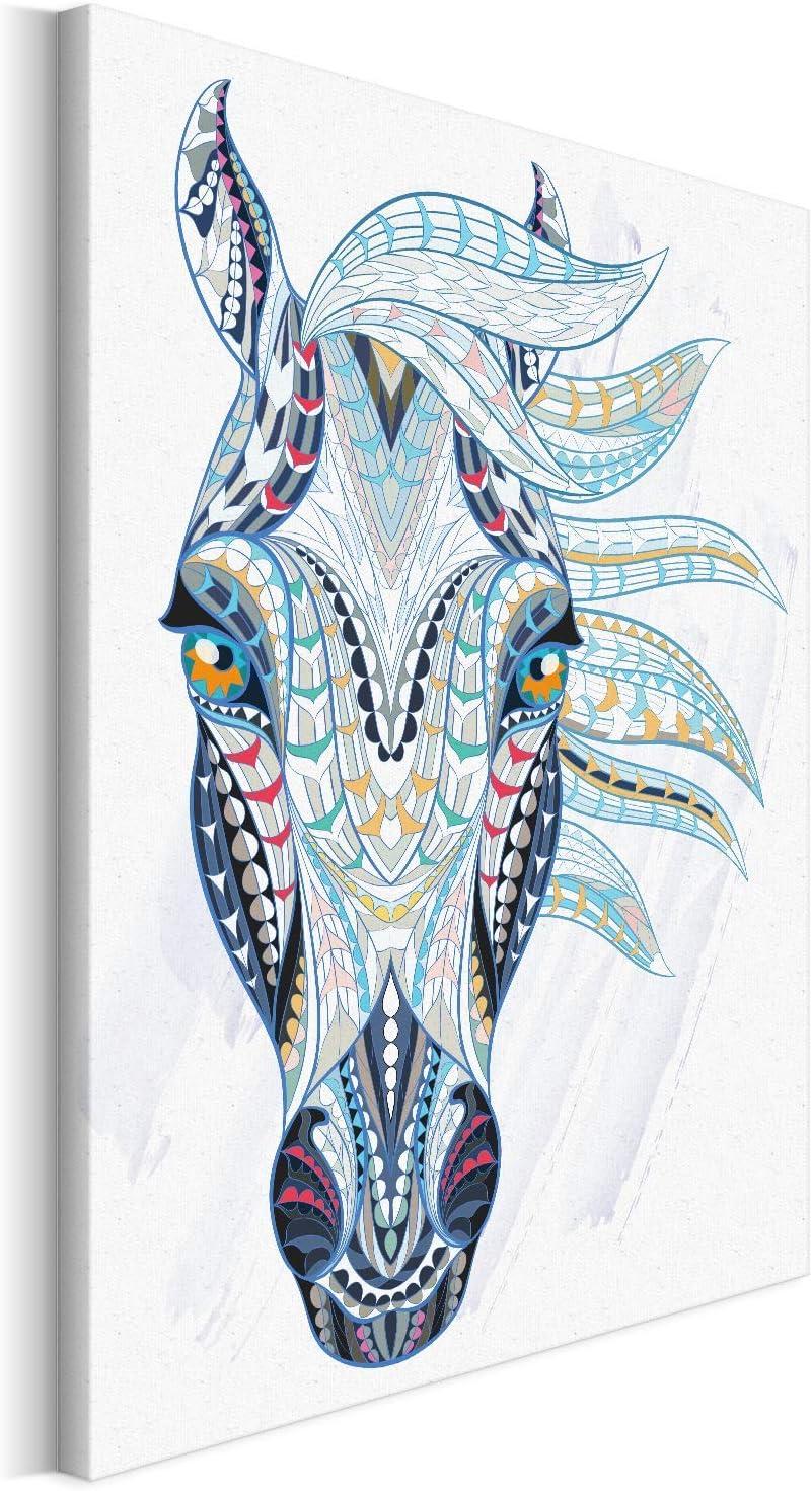 Revolio - Cuadro en Lienzo - impresión artística - Decoracion de Pared - Tamaño: 80x120 cm - Caballo abstracción Azul