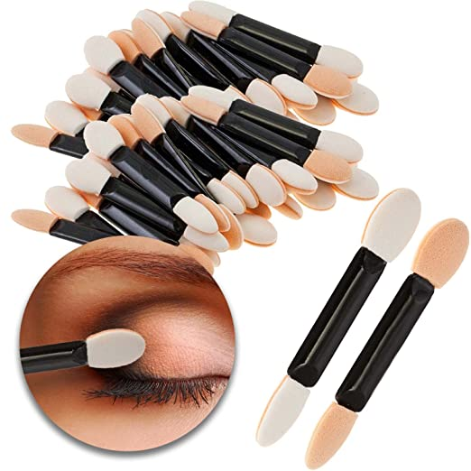 Make Up Set Kit of 50pcs Disposable Eyeshadows Applicators Double Ended Eyes Shadows Sponge Brushes Smudges Application Tools