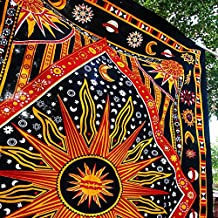 TWIN HIPPIE BRIGHT VIBRANT INDIAN TAPESTRY SUN MOOON THROW WALL HANGING GYPSY BEDSPREAD Tapestries,bed sheets ,bed spread,hippy bed sheets,wall hangings,ethnic decor,home decor bed sheets,throw,picknic blankets,dorm tapestries By Montreal Tappesier
