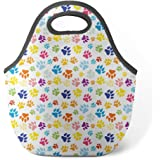 Good4Life - Neoprene Lunch Tote Insulated Reusable Picnic Lunch Bag [ Cute Dog Paw Print Pattern ]
