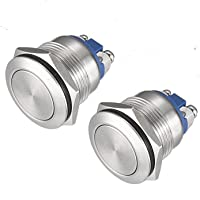 (Pack of 2) 19mm Momentary Push Button Switch Waterproof Stainless Steel Metal Flat Top 12V 24V 36 DC 110V 250V AC 5A 1NO SPST Screw Terminal APIELE
