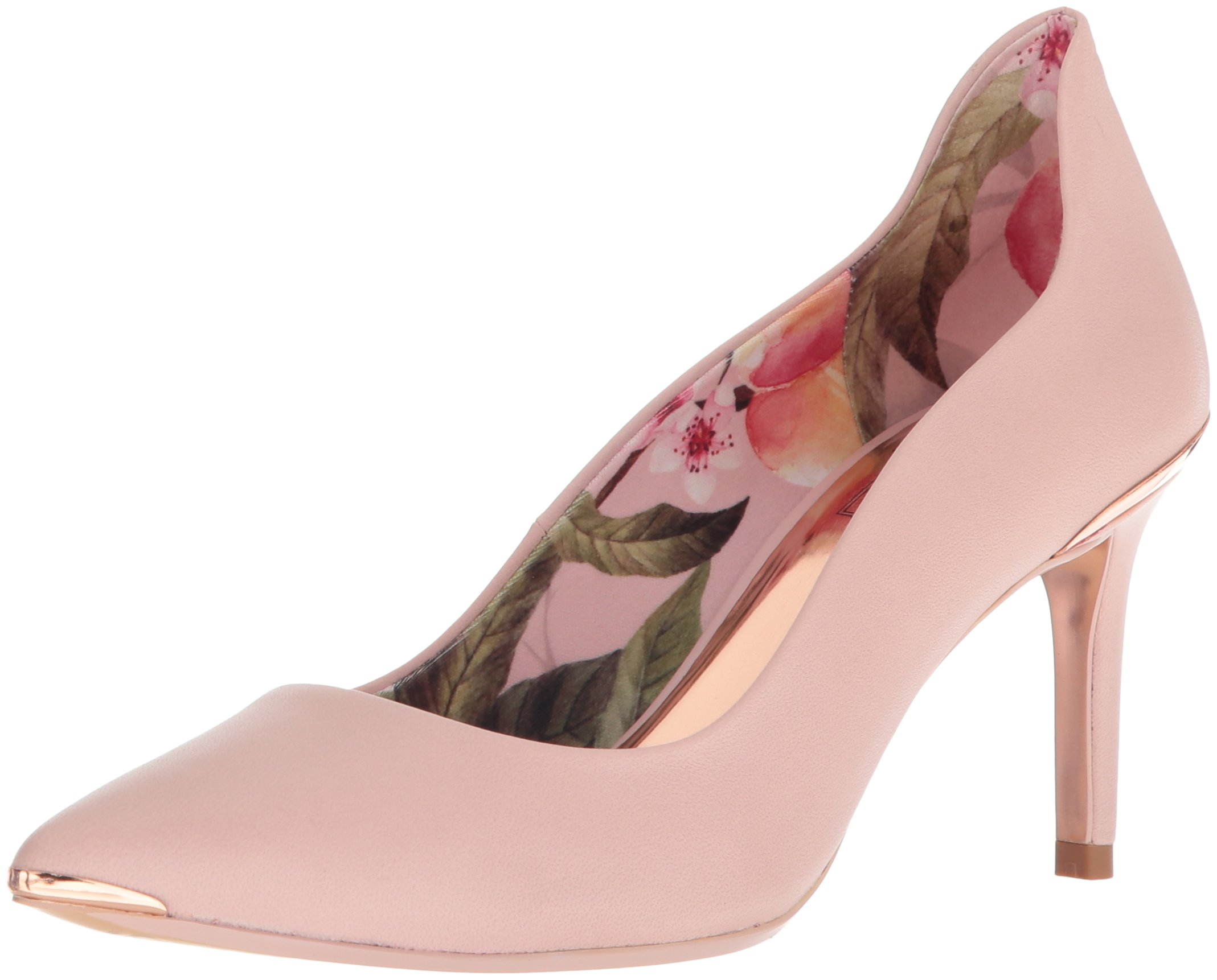 Ted Baker Women's Vyixyn Pump, Blossom Pink Leather Blossom Print Lining, 8.5 Medium US