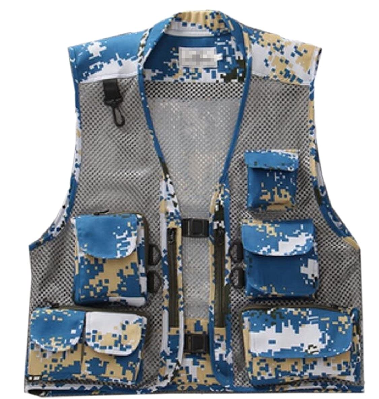 ZXFHZS-CA Men Photography Fishing Multi-Pocket Camo Mesh Vest Outdoor Jacket