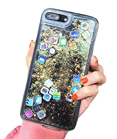 sports shoes 67a5e acbc9 UnnFiko Liquid Glitter Case for iPhone 7 Plus, Hard Back Colorful Bling  Quicksand with APP Shine Phone Case for iPhone 8 Plus (Gold Glitter, iPhone  7 ...