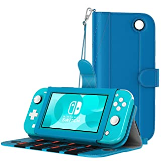 MoKo Case for Nintendo Switch Lite, PU Leather Anti-Scratch Cover Shell with Inside Pocket, Built-in 8 Game Card Slots, Dust-Proof Protective Case for Nintendo Switch Lite 2019 - Turquoise