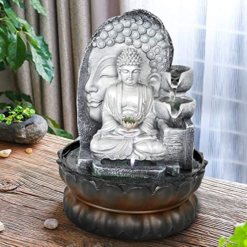 xpiyaer Meditating Seated Buddha Fountain w LED Light and Lotus Base – 11.8 Inches High Tabletop Water Fountain Indoor Waterfall Features for Home and Office Decor
