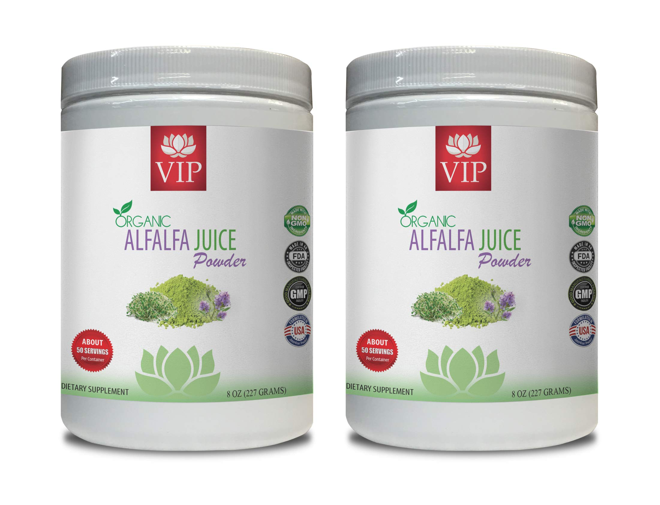Cholesterol Supplement - Alfalfa Organic Juice Powder - Organic Alfalfa Supplement - 2 Cans 16 OZ (100 Servings)