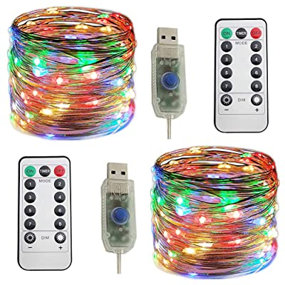 Huakway USB LED String Lights 33ft 8 Modes (2-Pack) 100 LEDs Remote Control Timer Waterproof 4 Color Mini Flexible Copper Wire Outdoor Indoor Deco Dorm Home Garden Party : Garden & Outdoor