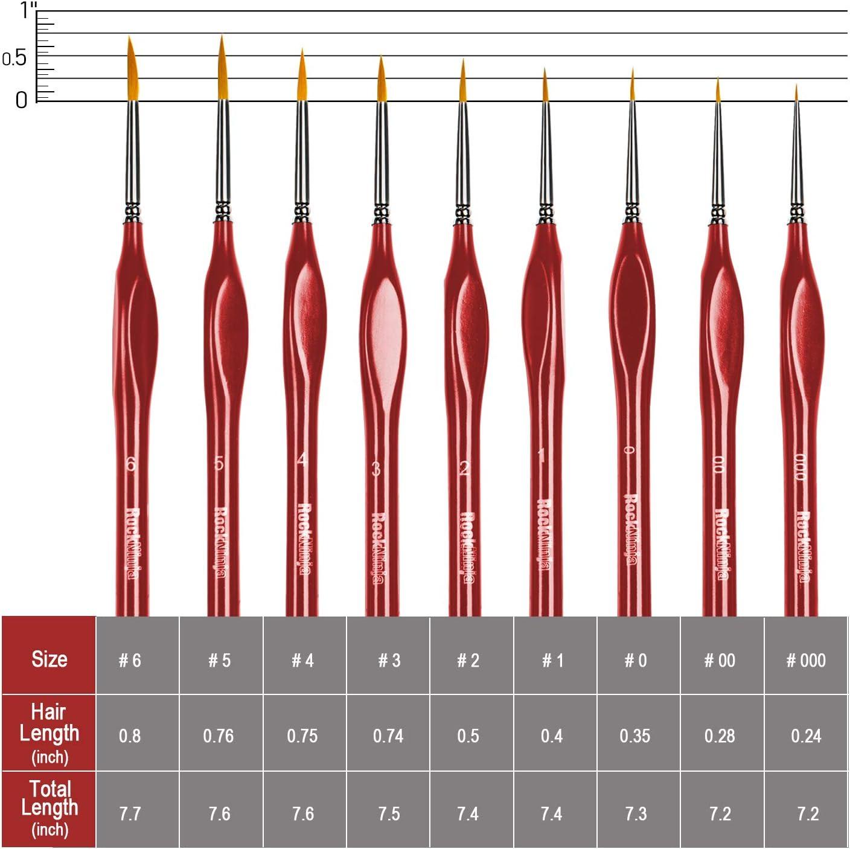 Schwarz 6 St/ück Detail Pinsel Set Miniatur Pinsel f/ür Aquarell und Acryl Malerei