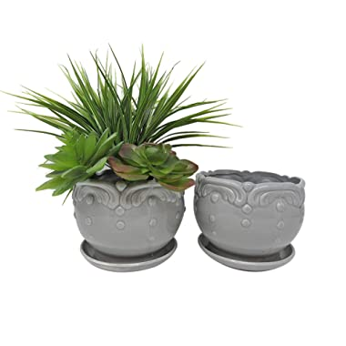 Vintage Ceramic Planter Pots for Garden Flowers, Cactus Plant, with Drain Hole and Saucer, Set of 2 by Ashes To Beauty (Grey)