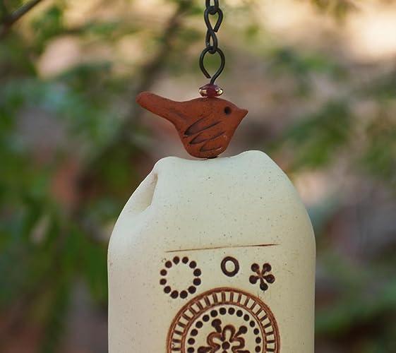 Nature Lover Birthday Gift Handmade Namaste Windchime Gardener Idea Rustic Bday Pottery