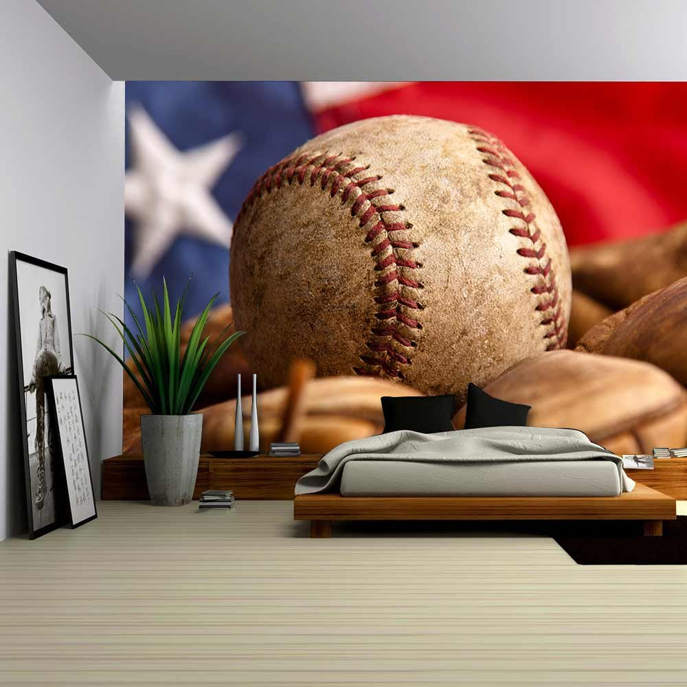 wall26 - Aged Vintage Baseball Background - Removable Wall Mural |  Self-adhesive Large Wallpaper